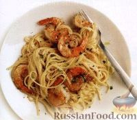 Фото к рецепту: Спагетти с креветками и сливочным сыром