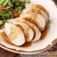 Фото к рецепту: Индюшиное филе с кунжутным соусом (в медленноварке)