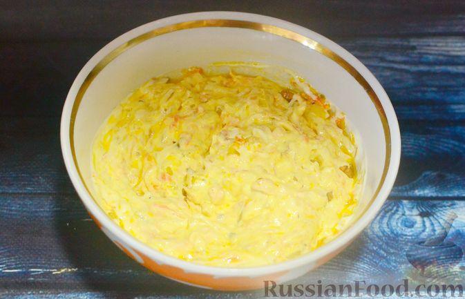 Фото приготовления рецепта: Печёночный торт с морковью и орехами - шаг №15
