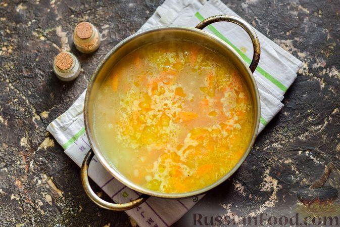 Фото приготовления рецепта: Рисовый суп со сливками, куриным филе и шпинатом - шаг №12
