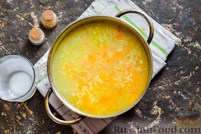 Фото приготовления рецепта: Рисовый суп со сливками, куриным филе и шпинатом - шаг №13