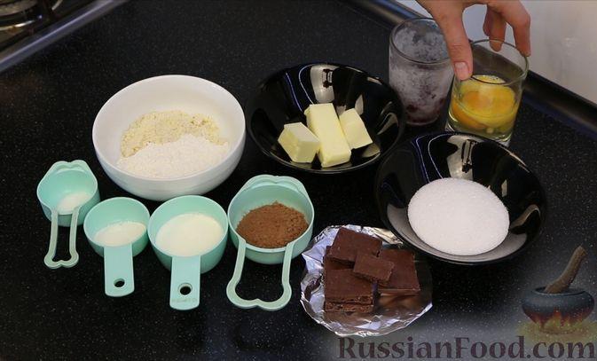 """Фото приготовления рецепта: Шоколадный кекс """"Чёрный лес"""" с вишней, ганашем из белого шоколада и глазурью - шаг №1"""