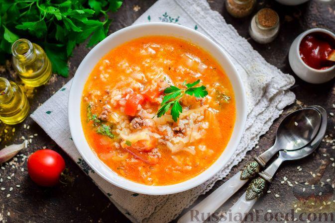 Фото к рецепту: Суп с фаршем, капустой и рисом