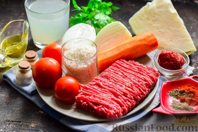 Фото приготовления рецепта: Суп с фаршем, капустой и рисом - шаг №1