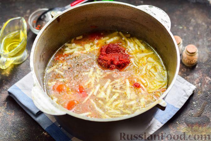 Фото приготовления рецепта: Суп с фаршем, капустой и рисом - шаг №10