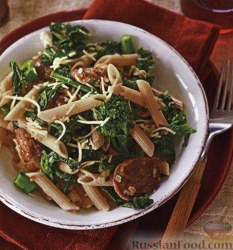 Рецепт Макароны с колбасками и брокколи