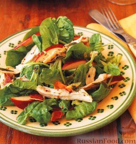 Рецепт Салат из шпината, яблок и куриного мяса