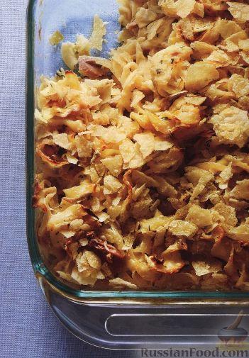 Рецепт Лапша, запеченная с пореем и тунцом в сливочном соусе