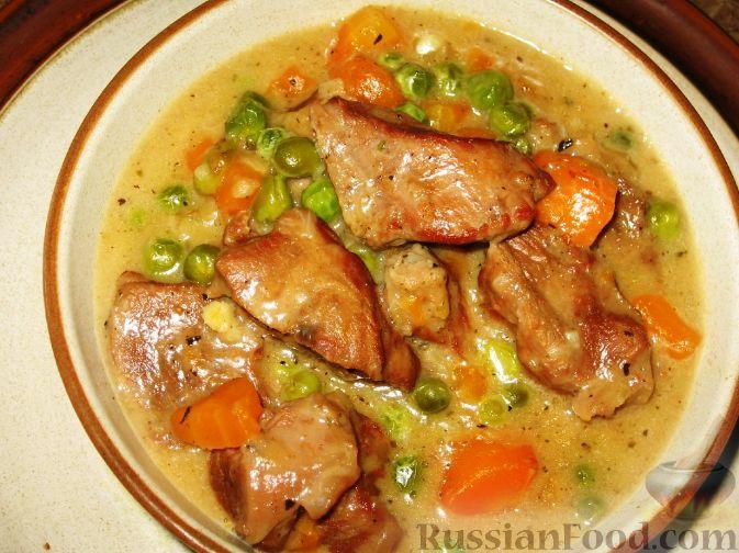 Рецепт Телятина, тушенная с морковью и горошком