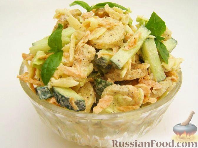 Рецепт Простой овощной салат с сухариками
