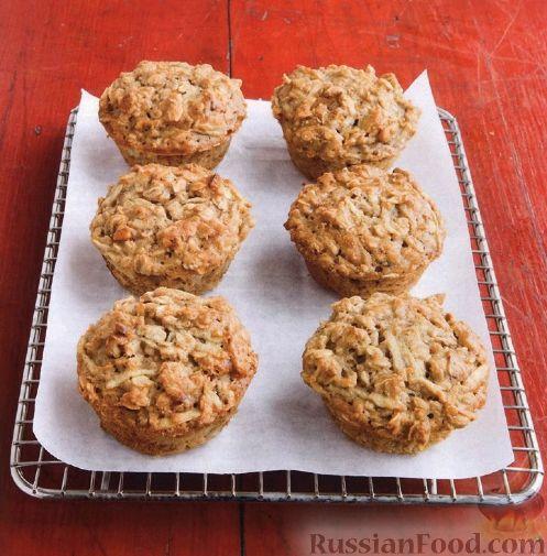 Рецепт Овсяные маффины с яблоками и орехами