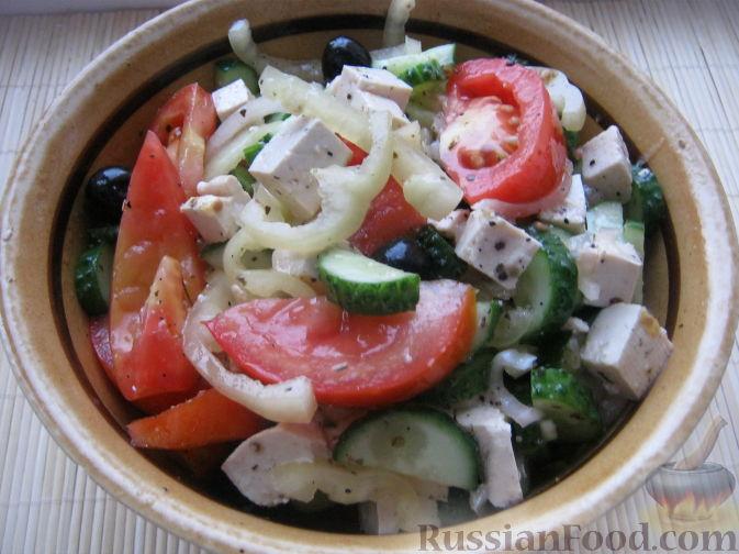 Рецепт Постный греческий салат с сыром тофу