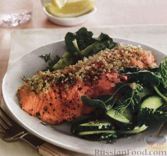 Рецепт Печеный лосось с зеленым салатом