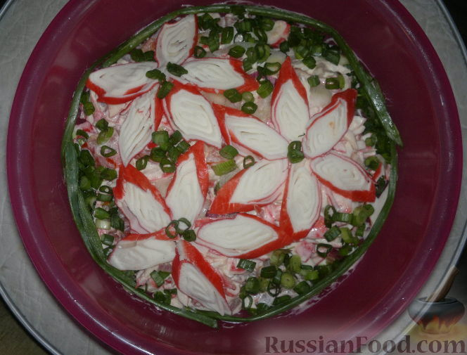Рецепт Салат с помидорами и крабовыми палочками