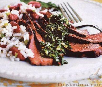 Рецепт Говяжий стейк с соусом чимичурри