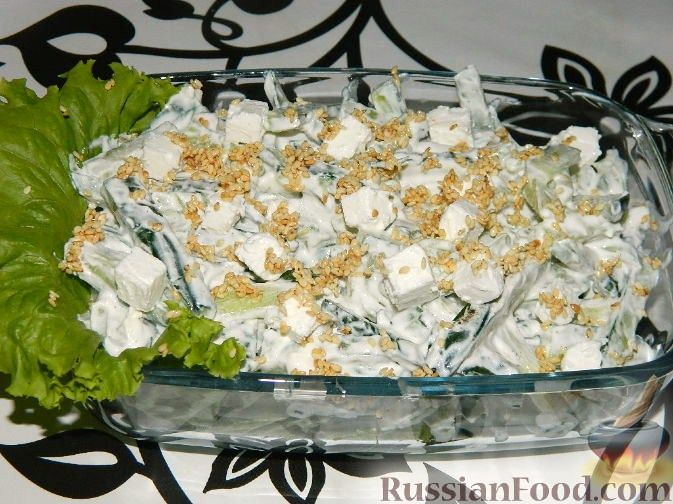 Рецепт Огуречный салат с сыром фета