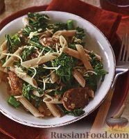 Фото к рецепту: Макароны с колбасками и брокколи