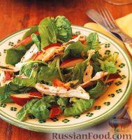 Фото к рецепту: Салат из шпината, яблок и куриного мяса