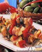 Фото к рецепту: Шашлыки из индюшиного филе и овощей