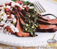 Фото к рецепту: Говяжий стейк с соусом чимичурри