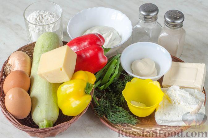 Фото приготовления рецепта: Рулет из кабачков с творожно-сырной начинкой и сладким перцем - шаг №1