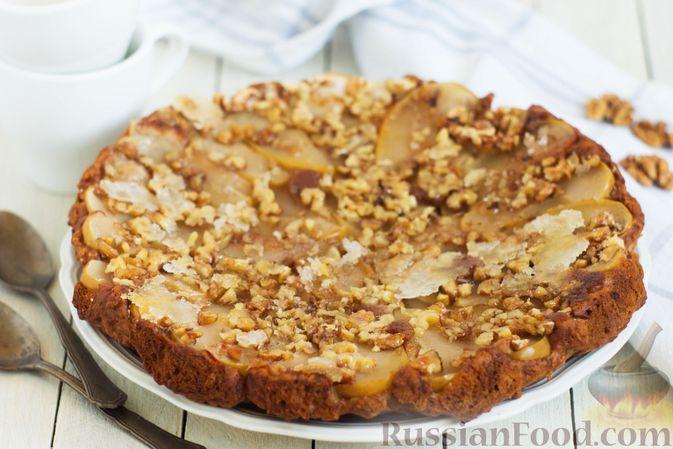 Фото к рецепту: Постный яблочный пирог-перевёртыш