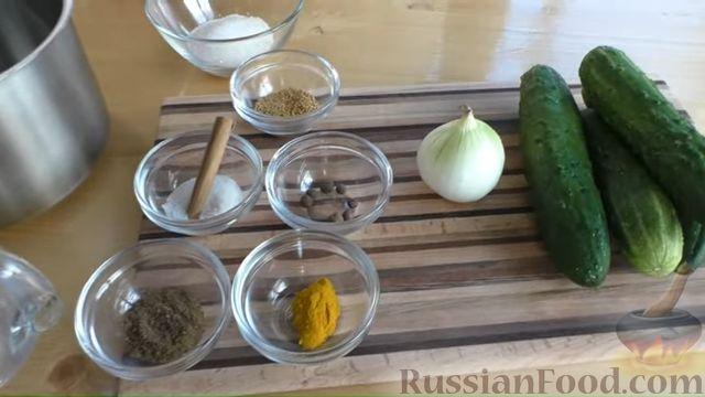 Фото приготовления рецепта: Быстрые маринованные огурцы кружочками - шаг №1