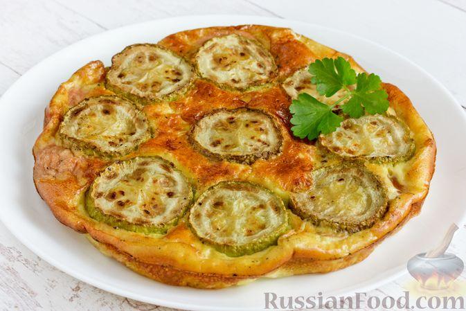 Фото приготовления рецепта: Омлет с кабачком и колбасой (в духовке) - шаг №13
