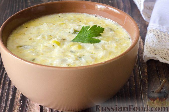 Фото к рецепту: Луковый суп с плавленым сыром