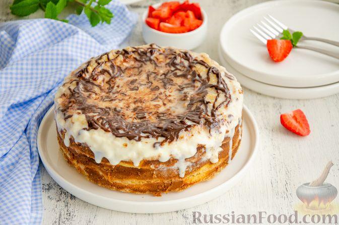 Фото к рецепту: Насыпной пирог с творогом, сметаной, сгущёнкой и шоколадом