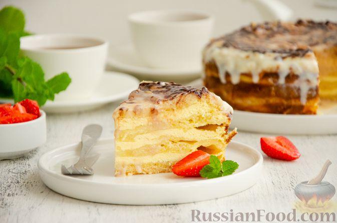 Фото приготовления рецепта: Насыпной пирог с творогом, сметаной, сгущёнкой и шоколадом - шаг №16