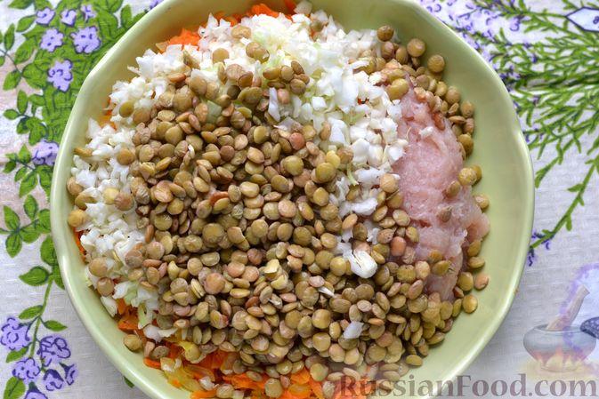 Фото приготовления рецепта: Ленивые голубцы с чечевицей (в духовке) - шаг №9