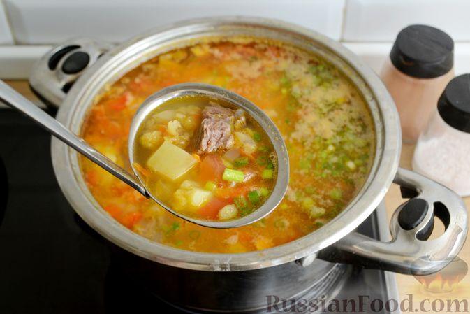 Фото приготовления рецепта: Чечевичный суп с говядиной и овощами - шаг №16
