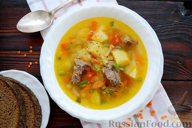 Фото приготовления рецепта: Чечевичный суп с говядиной и овощами - шаг №17