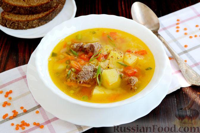 Фото к рецепту: Чечевичный суп с говядиной и овощами