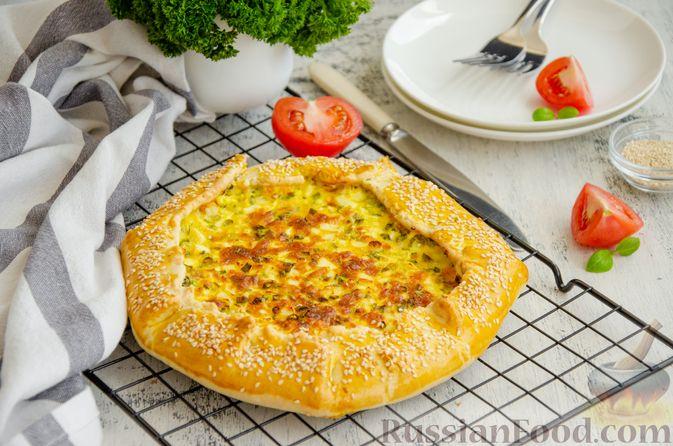 Фото к рецепту: Открытый пирог с сыром и варёными яйцами