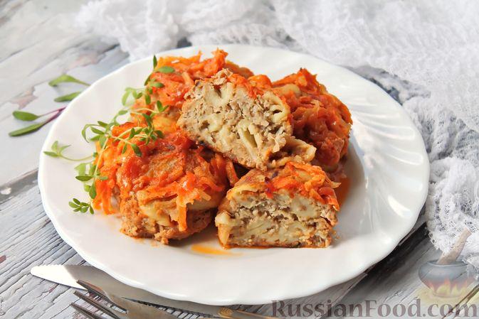 Фото к рецепту: Тефтели из мясного фарша и макарон (в духовке)
