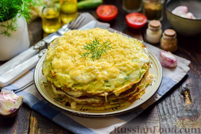 Фото приготовления рецепта: Закусочный торт из кабачков с помидорами и сыром - шаг №16