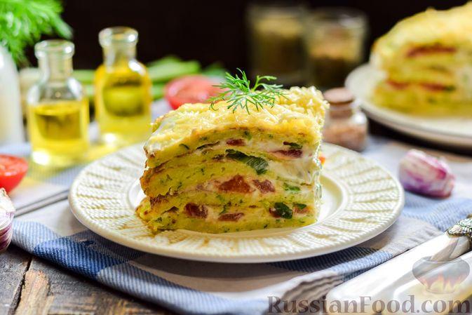 Фото приготовления рецепта: Закусочный торт из кабачков с помидорами и сыром - шаг №17