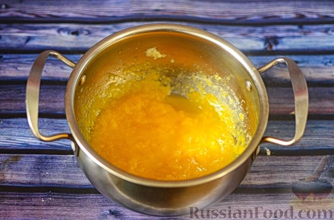 Фото приготовления рецепта: Рисовая каша с тыквой и карамелизированными персиками - шаг №7