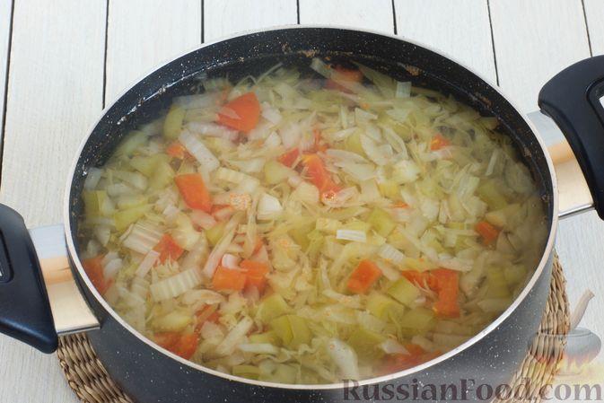 Фото приготовления рецепта: Суп с капустой, сельдереем, сладким перцем и помидором - шаг №7