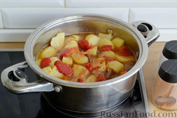 Фото приготовления рецепта: Говядина, тушенная с молодой картошкой - шаг №12