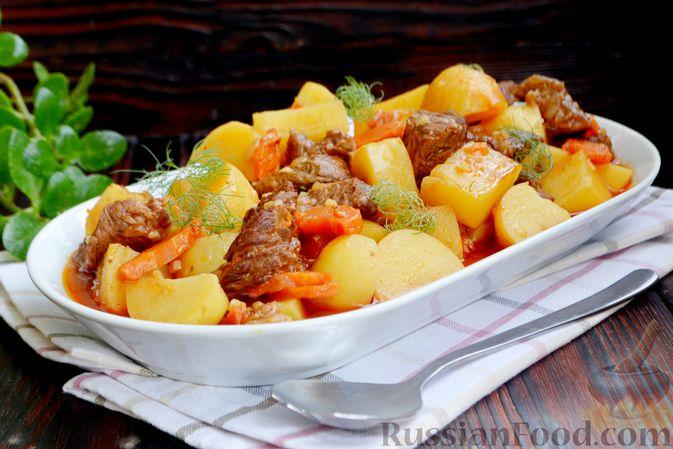 Фото к рецепту: Говядина, тушенная с молодой картошкой