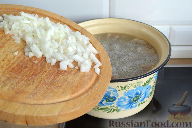 Фото приготовления рецепта: Суп с галушками - шаг №10