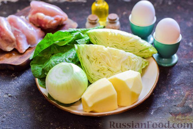 Фото приготовления рецепта: Щи со щавелем и шпинатом - шаг №1