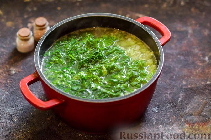 Фото приготовления рецепта: Щи со щавелем и шпинатом - шаг №13