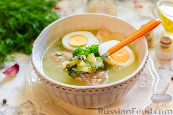 Фото приготовления рецепта: Щи со щавелем и шпинатом - шаг №15