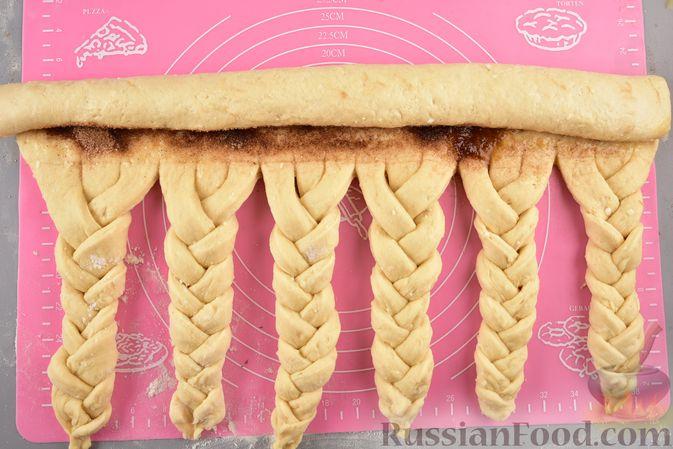 Фото приготовления рецепта: Пирог «Венок» из творожного дрожжевого теста, с корицей - шаг №14