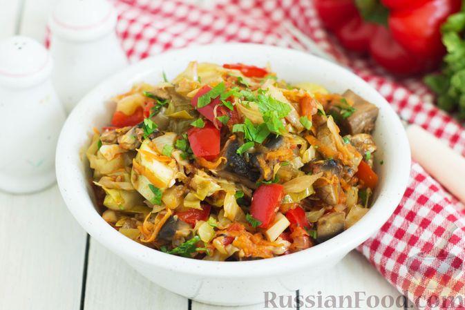 Фото к рецепту: Овощное рагу с молодой капустой, кабачками, грибами и сладким перцем