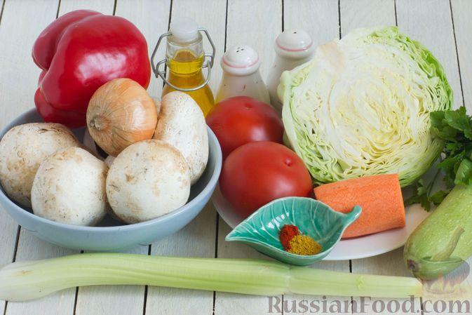 Фото приготовления рецепта: Овощное рагу с молодой капустой, кабачками, грибами и сладким перцем - шаг №1
